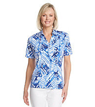 Cathy Daniels® Point Collar All Over Print Top