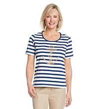 Cathy Daniels® Scoop Neckline All Over Stripe Anchor Top