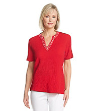 Cathy Daniels® Split Neckline With Embelishment Solid Top