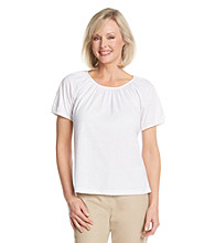 Cathy Daniels® Scoop Neckline All Over Shirred Solid Top