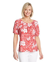 Cathy Daniels® Scoop Neckline All Over Shirred Print Top