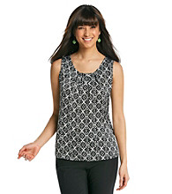 Notations® Scoop Neckline All Over Print Top