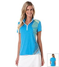 PGA Tour® Ladies Mock Neck Placed Print Top