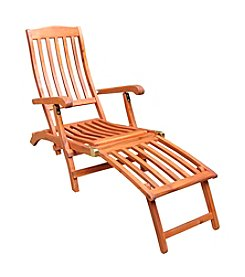 International Concepts Oiled Finish Asian Hardwood Steamer Chair with Brassplated Hardware