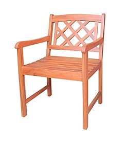 International Concepts Oiled Finish Asian Hardwood X-back Chair