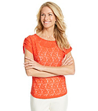 Evan-Picone® Lace Knit Top