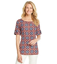 Evan-Picone® Printed Fold Sleeve Woven Top