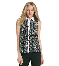 NY Collection Printed Contrast Placket Woven Top