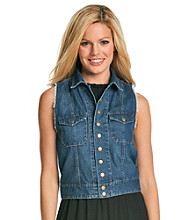 NY Collection Frayed Denim Vest