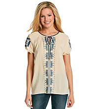 Oneworld® Embroidered Peasant Top