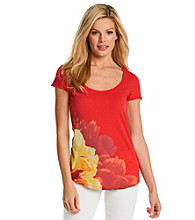 Lucky Brand® Floral Placement Print Tee