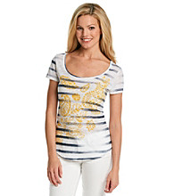 Lucky Brand® Striped Paisley Print Tee