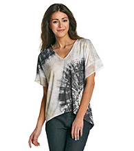 Oneworld® Studded Shoulder High-Low Tie Dye Tee