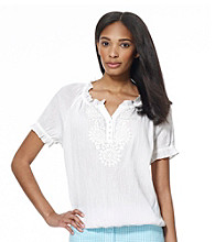 Jones New York Sport® White Raglan Embroidered Top