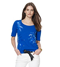 Jones New York Sport® Blue Sequined Flowers Knit