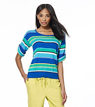 Jones New York Sport® Blue Multi Striped Roll Cuff Knit Top