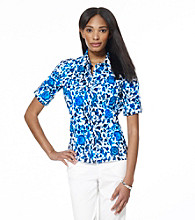 Jones New York Sport® Blue Multi Floral Printed Fitted Shirt