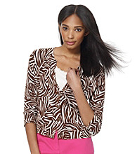 Jones New York Sport® Brown Zebra Print Cardigan