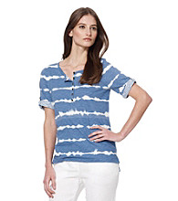 Jones New York Sport® Blue Striped Button Front Knit Top