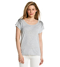 Vince Camuto® Studded Shoulder Tee