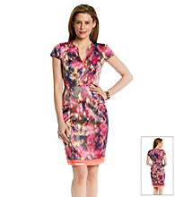 T Tahari® Printed Peplum Christina Dress