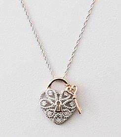 .02 ct. t.w. Diamond Heart Lock Pendant - Sterling Silver/14K Rose Gold