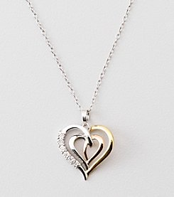 .03 ct. t.w. Diamond Heart Pendant - Sterling Silver/14K Tri-Tone
