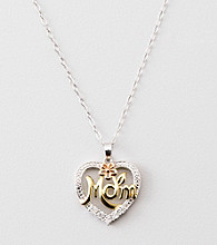 Diamond Accent Mom Heart Pendant - Sterling Silver/14K Tri-Tone