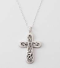 Black & White Crystal Cross Pendant - Sterling Silver