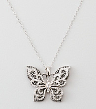 Black & White Crystal Butterfly Pendant - Sterling Silver