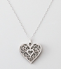 Black & White Crystal Heart Pendant - Sterling Silver