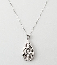 Black & White Crystal Teardrop Pendant - Sterling Silver