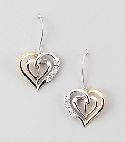 .04 ct. t.w. Diamond Mom Heart Earrings - Sterling Silver/14K Tri-Tone