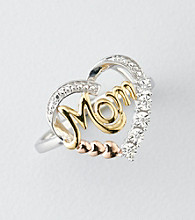 .0165 ct. t.w. Diamond Mom Heart Ring - Sterling Silver/14K Tri-Tone