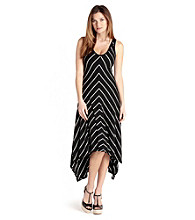 Karen Kane® Asymmetrical V Neck Stripe Dress