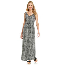 Chaus Drapeneck Animal Print Maxi Dress