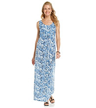 Chaus Printed Tie Waist Tank Maxi Dress