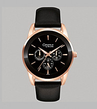 Caravelle® by Bulova Men's Multifunction Watch in Rose Goldtone with Black Leather Strap