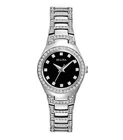 Bulova® Women's Crystal Watch with Black Dial
