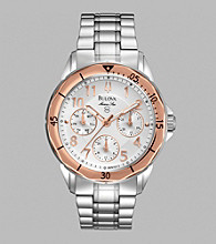 Bulova® Women's Marine Star Watch with Silver White Multi-Feature Dial