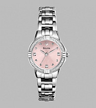 Bulova® Women's Diamond Set Case Watch with Pink Pearlized Dial