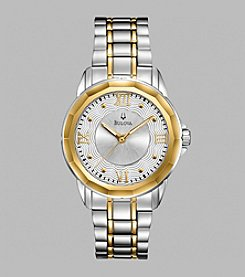 Bulova® Women's Two Tone Watch with Silver White Dial