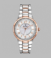 Bulova® Women's Two Tone Diamond Set Case Watch with Mother Of Pearl Dial
