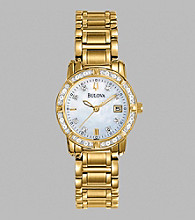 Bulova® Women's Diamond Set Case Mother Of Pearl Dial