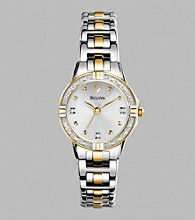 Bulova® Women's Diamond Set & Two Tone Case Bracelet Watch
