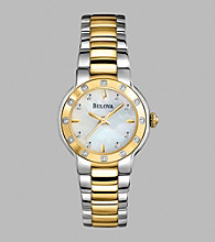 Bulova® Women's Diamond Set Case & Two Tone Bracelet Watch with Mother-of-Pearl Dial