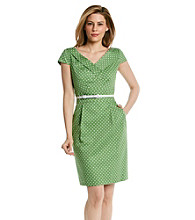 Tahari by Arthur S. Levine® Belted Dot Sheath Dress
