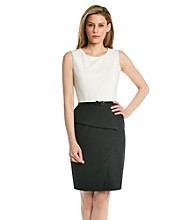 Calvin Klein Peplum Belted Sheath Dress