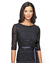 Alex Evenings® Lace Blouse With Ribbon Tie