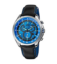 Citizen® Men's Drive Eco-Drive Silvertone Chronograph Strap Watch with Blue Accented Dial